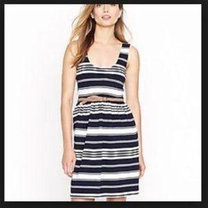 J. Crew Factory White & Black Stripe Sundress